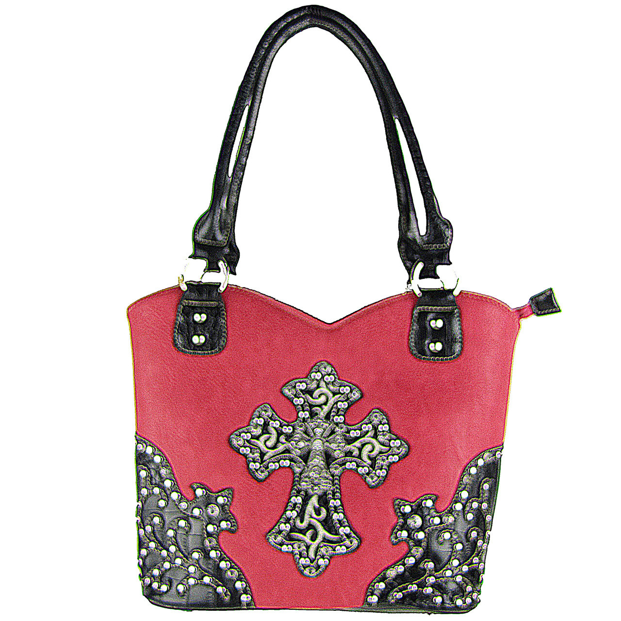 HOT PINK RHINESTONE STUDDED CROSS LOOK SHOULDER HANDBAG HB1-HH403-30HPK
