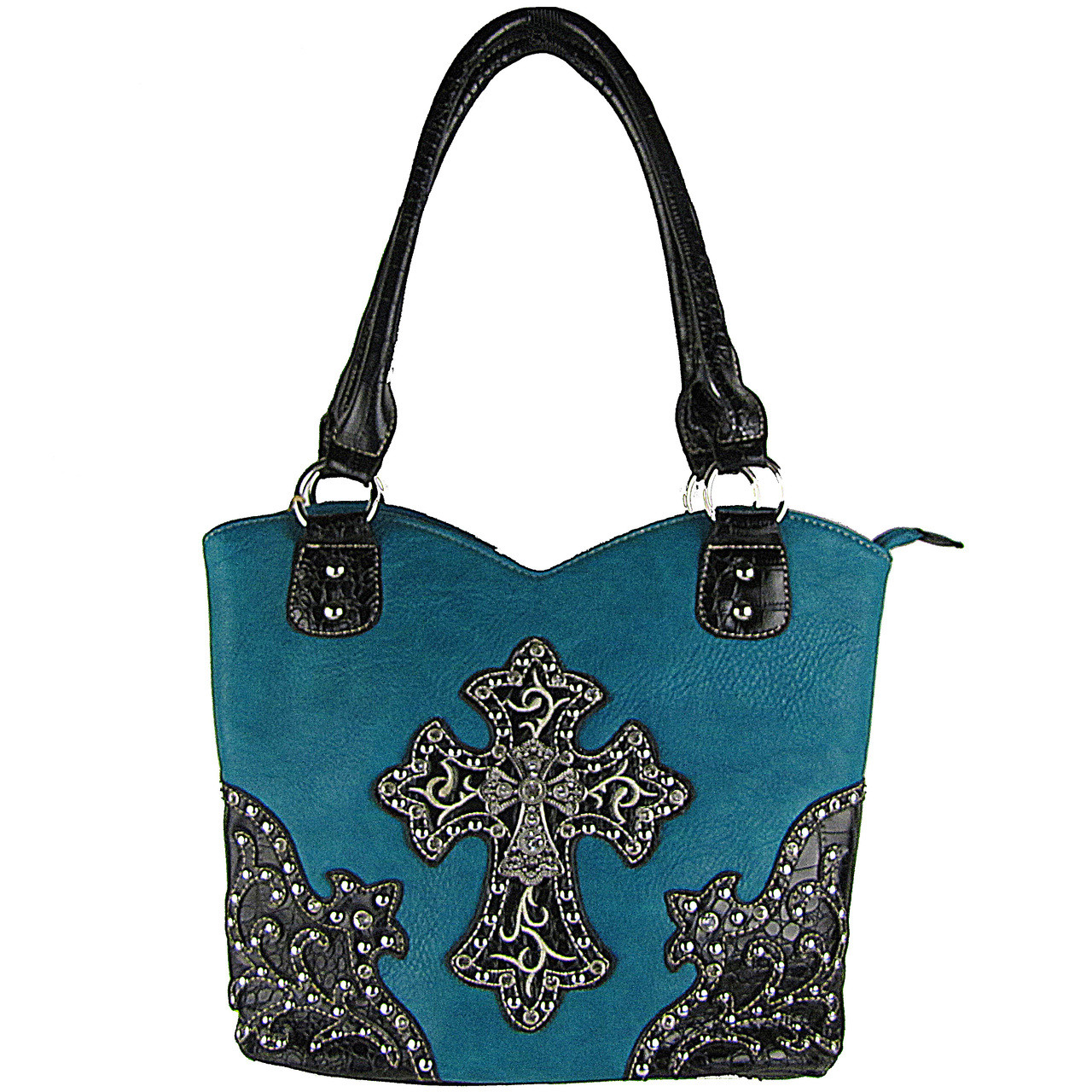 TURQUOISE RHINESTONE STUDDED CROSS LOOK SHOULDER HANDBAG HB1-HH403-30TRQ