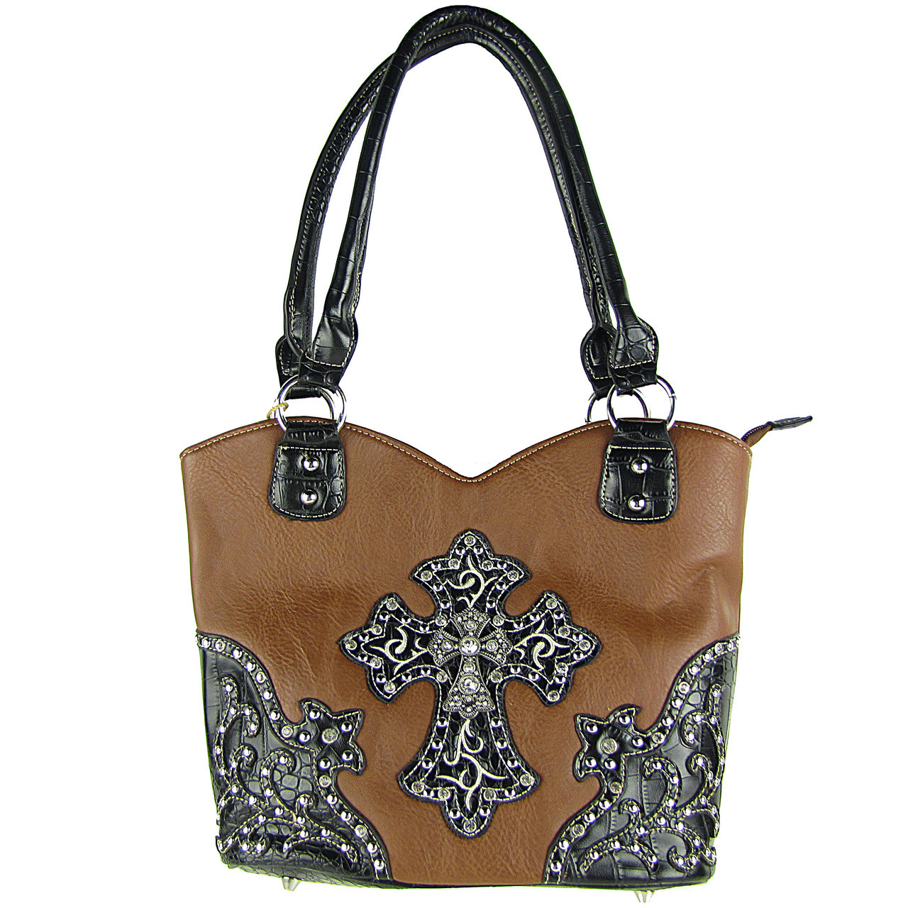 BROWN RHINESTONE STUDDED CROSS LOOK SHOULDER HANDBAG HB1-HH403-30BRN