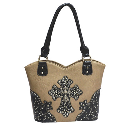 BEIGE RHINESTONE STUDDED CROSS LOOK SHOULDER HANDBAG HB1-HH403-30BEI