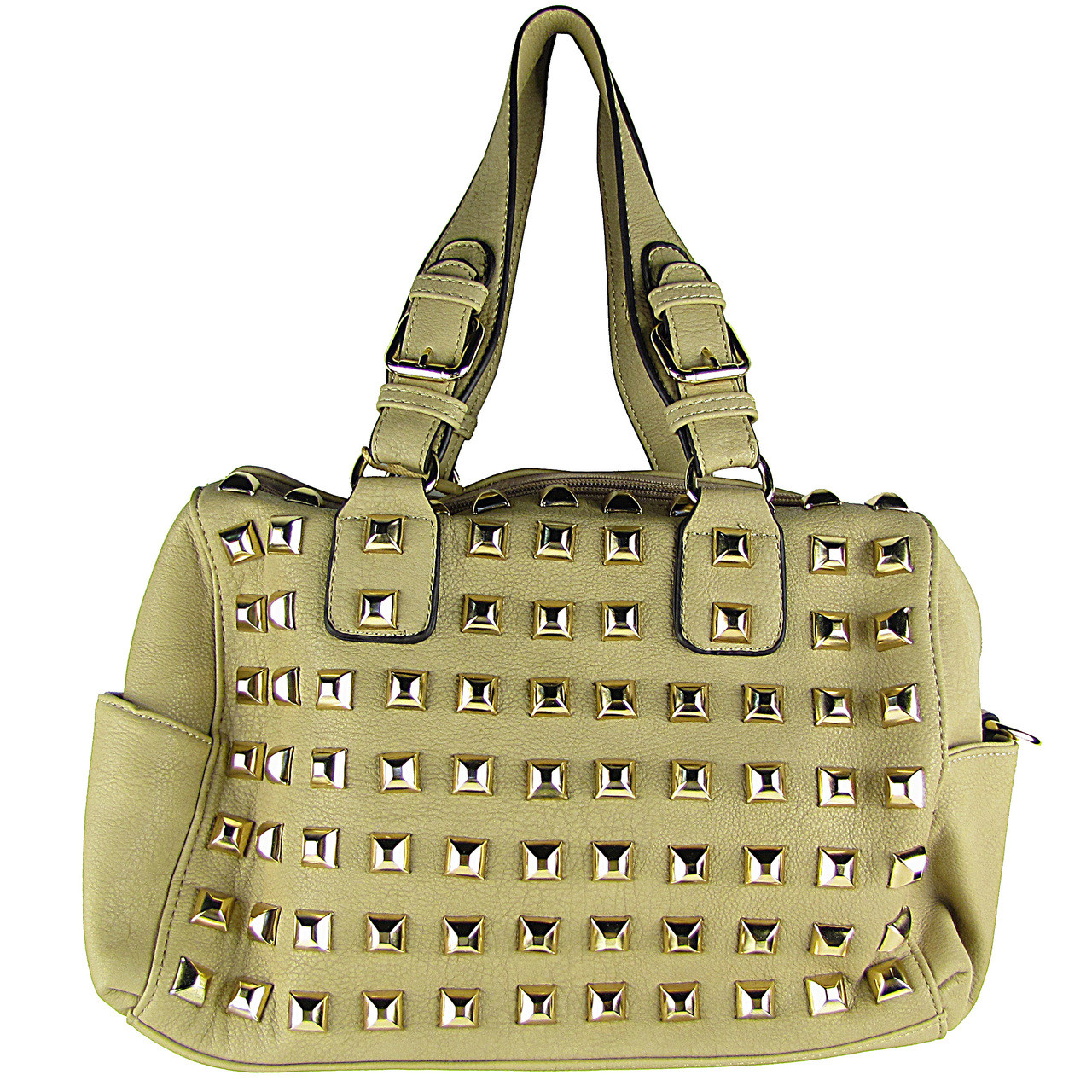 BEIGE STUDDED LEATHERETTE LOOK SHOULDER HANDBAG HB1-HC0079BEI
