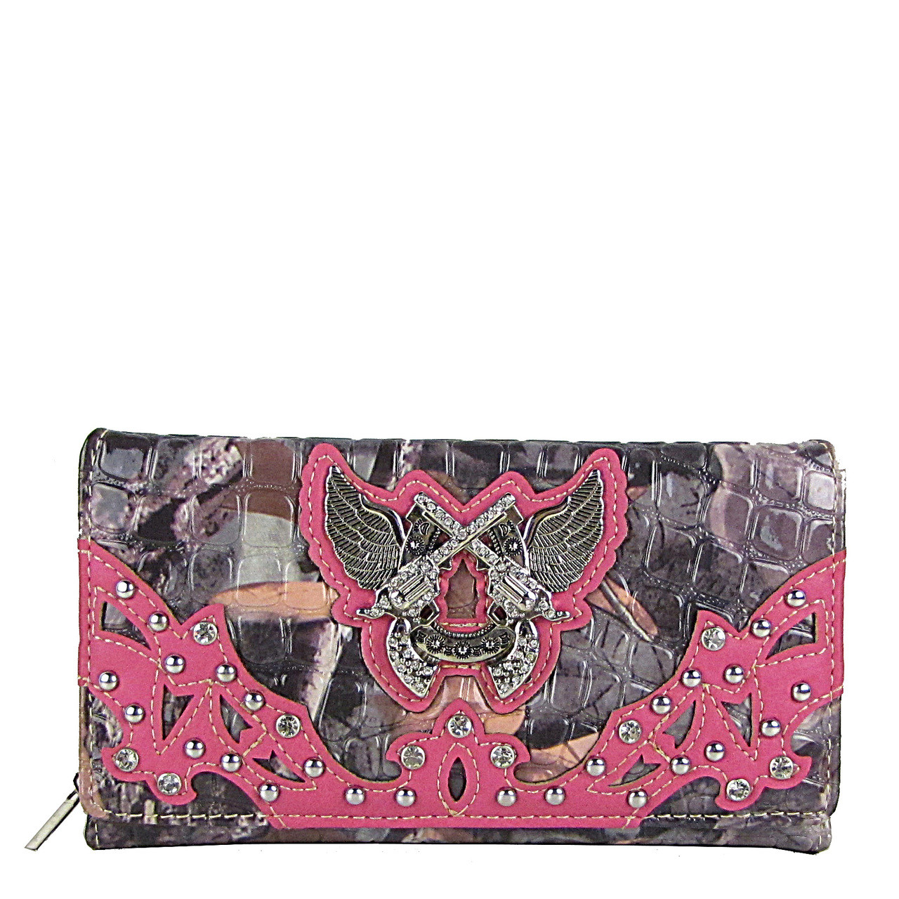 HOT PINK CAMO RHINESTONE HORSESHOE WITH WINGS AND PISTOLS LOOK CHEKCBOOK WALLET CB1-1279HPK