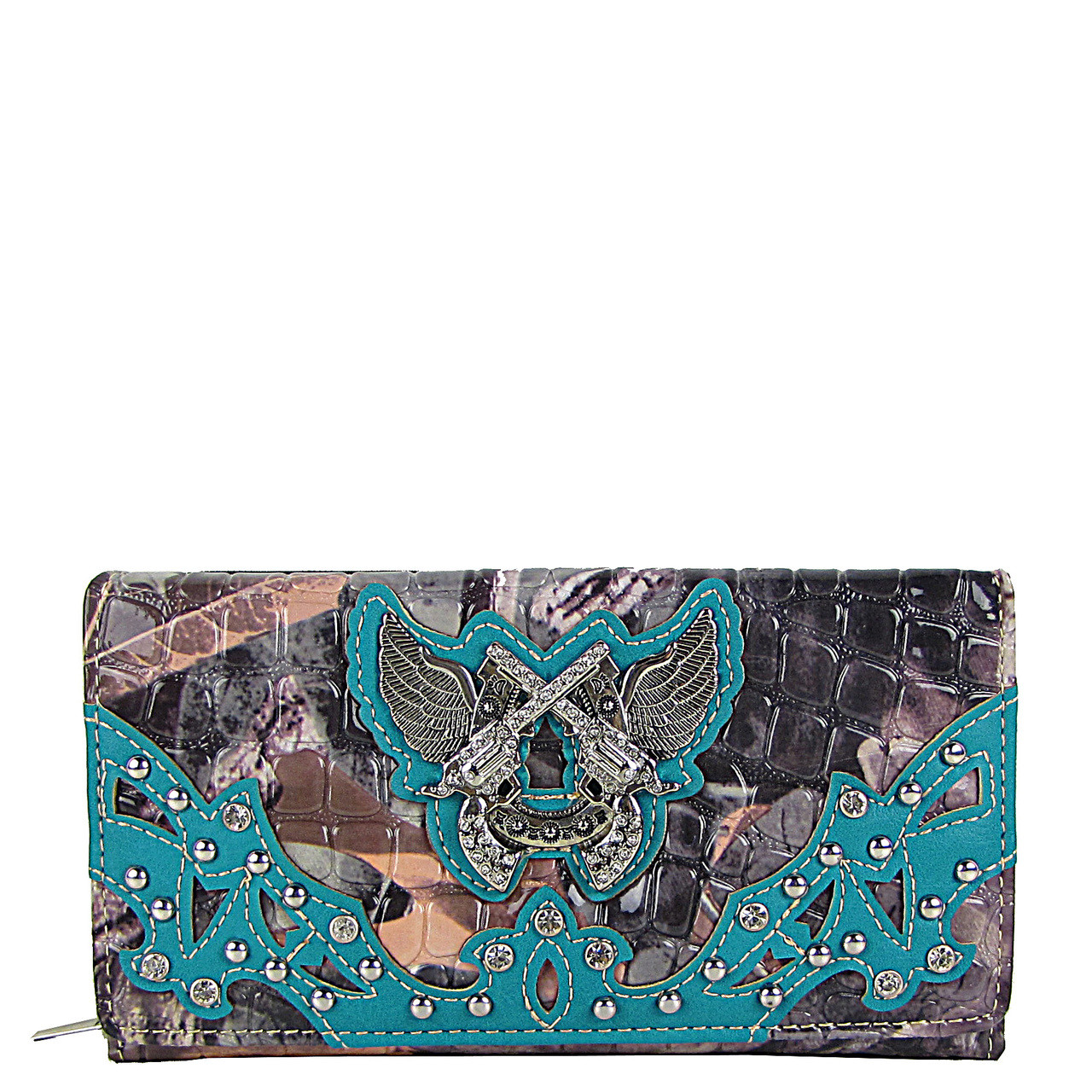 TURQUOISE CAMO RHINESTONE HORSESHOE WITH WINGS AND PISTOLS LOOK CHEKCBOOK WALLET CB1-1279TRQ