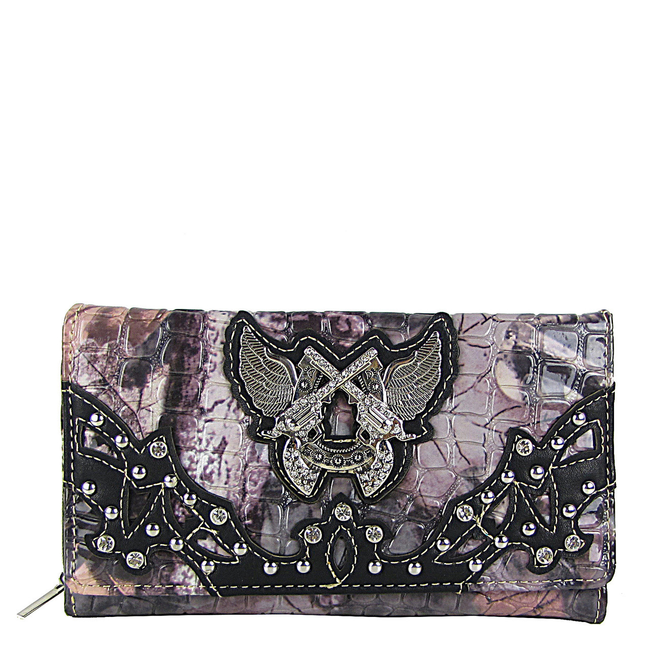 BLACK CAMO RHINESTONE HORSESHOE WITH WINGS AND PISTOLS LOOK CHEKCBOOK WALLET CB1-1279BLK