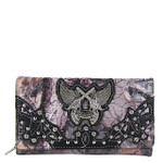BLACK CAMO RHINESTONE HORSESHOE WITH WINGS AND PISTOLS LOOK CHECKBOOK WALLET CB1-1279BLK