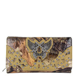 BEIGE CAMO RHINESTONE HORSESHOE WITH WINGS AND PISTOLS LOOK CHECKBOOK WALLET CB1-1279BEI