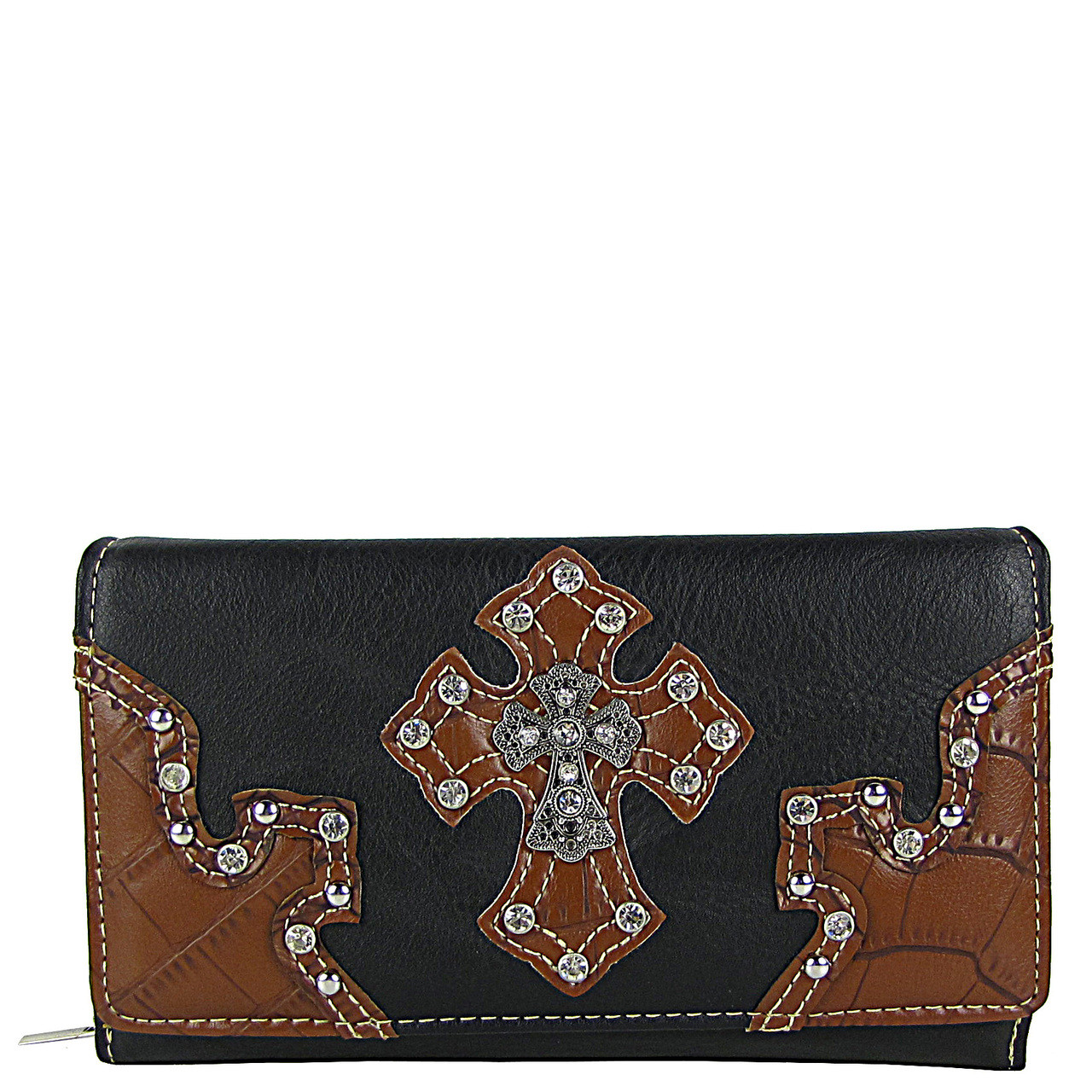 BLACK RHINESTONE STUDDED CROSS LOOK CHEKCBOOK WALLET CB1-0452BLK
