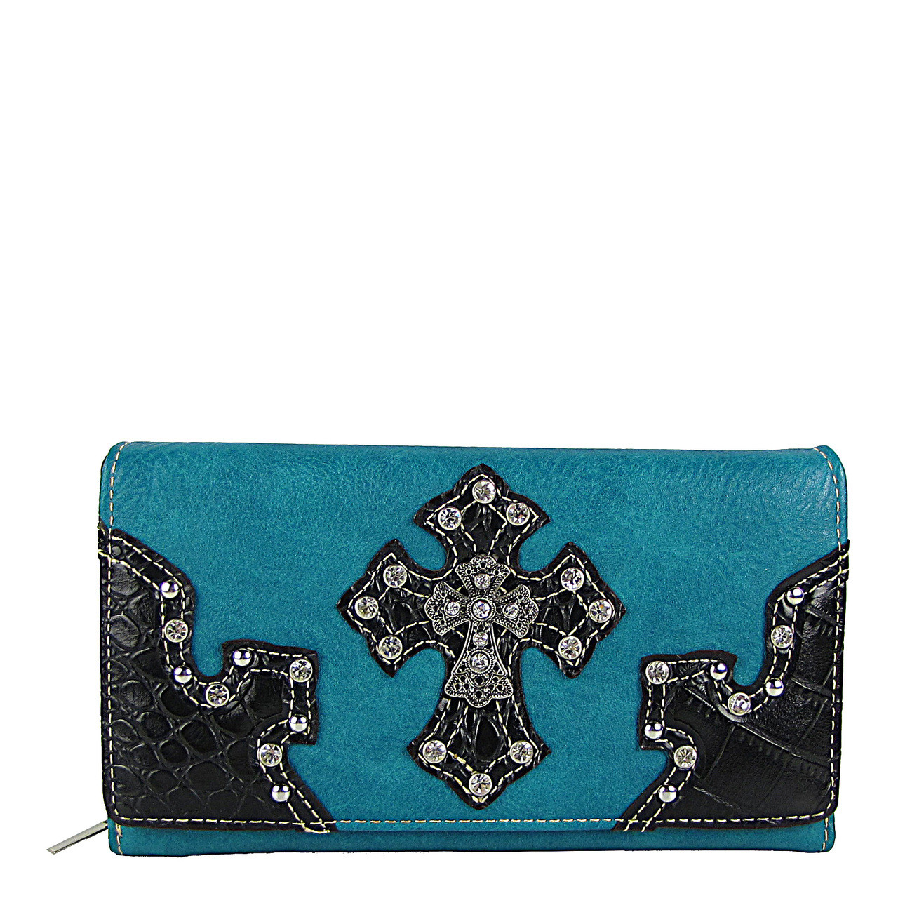 TURQUOISE RHINESTONE STUDDED CROSS LOOK CHEKCBOOK WALLET CB1-0452TRQ