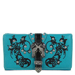 TURQUOISE RHINESTONE STUDDED BUCKLE WITH PISTOL LOOK CHEKCBOOK WALLET CB1-1278TRQ