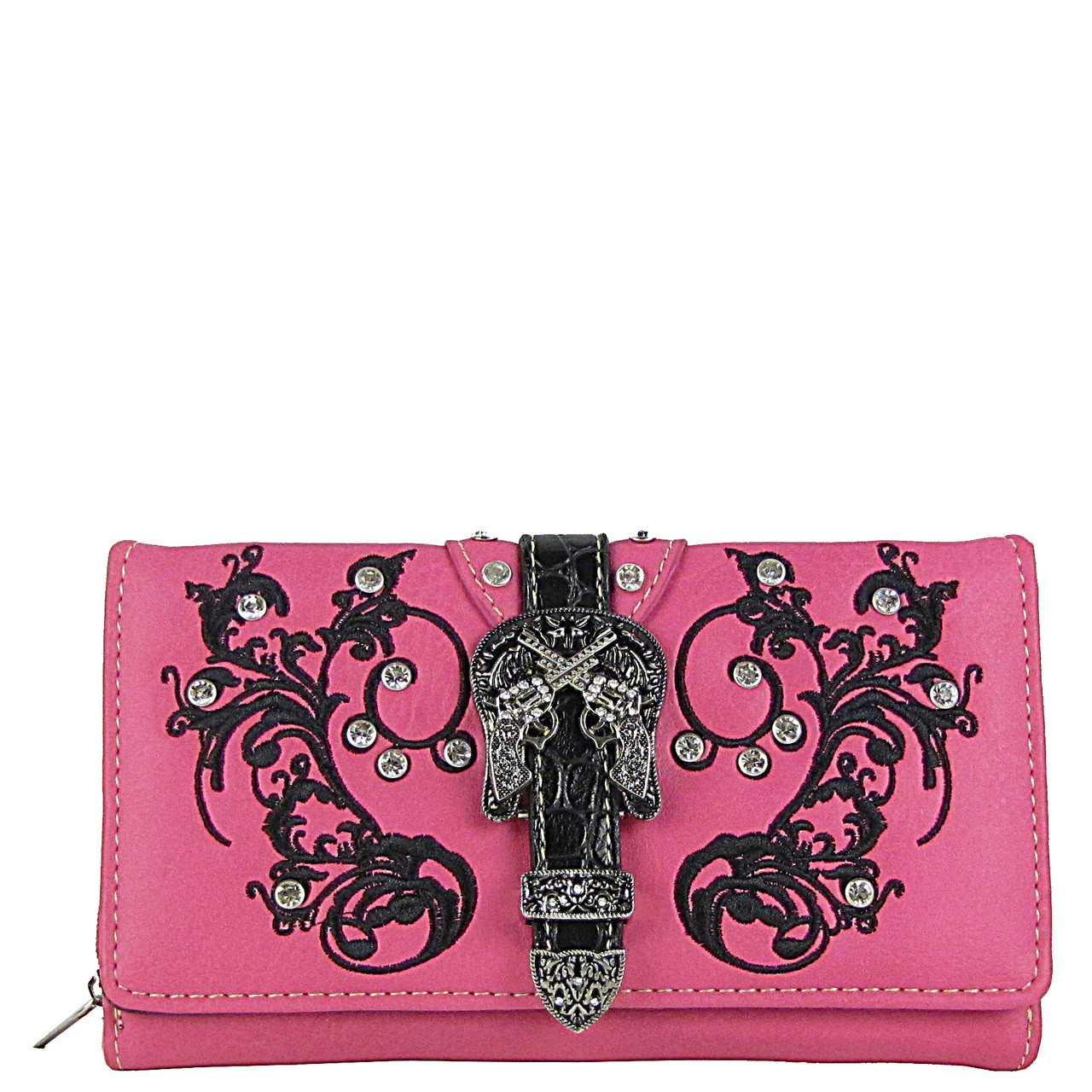 HOT PINK RHINESTONE STUDDED BUCKLE WITH PISTOL LOOK CHEKCBOOK WALLET CB1-1278HPK
