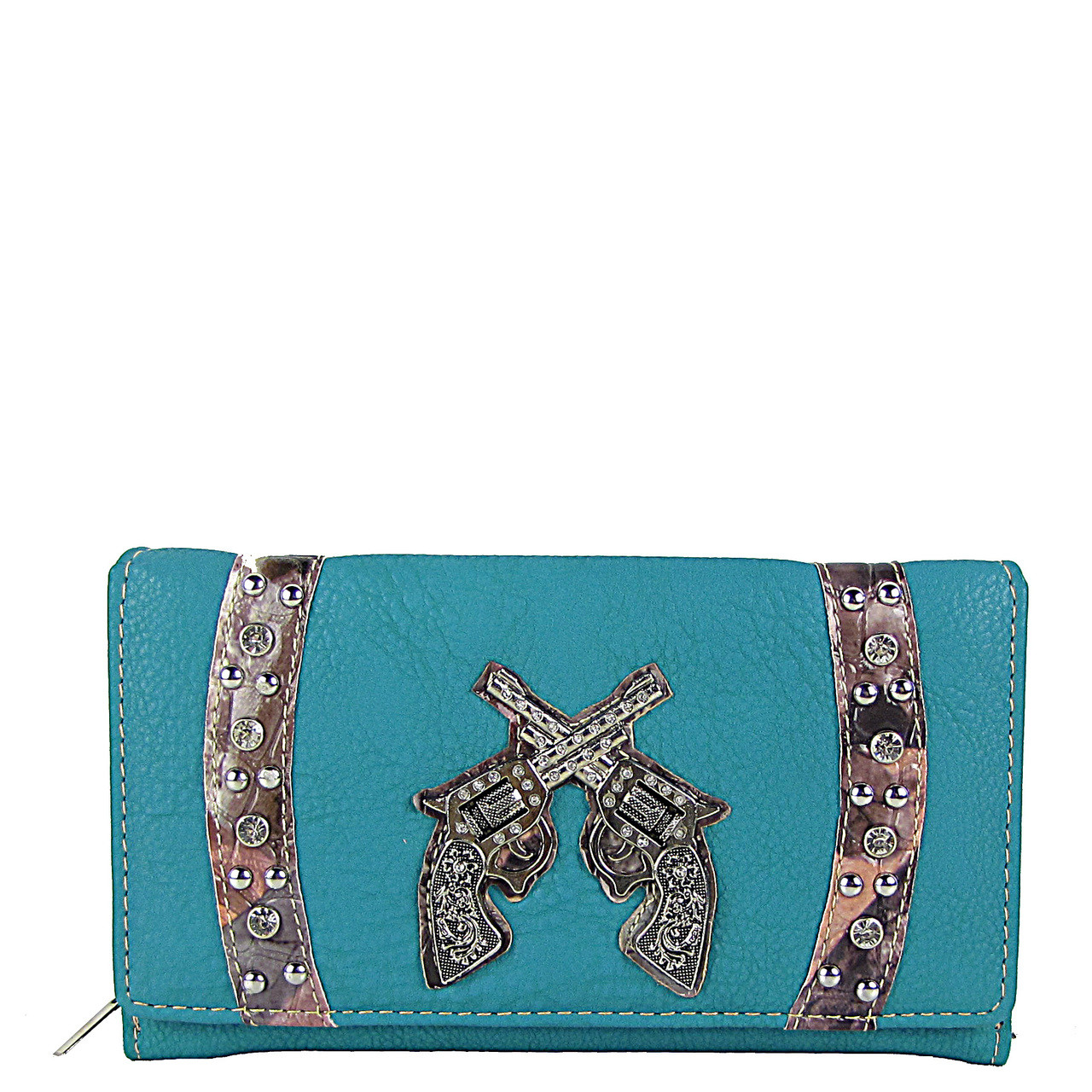 TURQUOISE CAMO RHINESTONE STUDDED PISTOL LOOK CHEKCBOOK WALLET CB1-1280TRQ