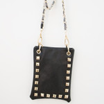 BLACK GOLD STUDS MINI MESSENGER BAG MB2-1212BLK