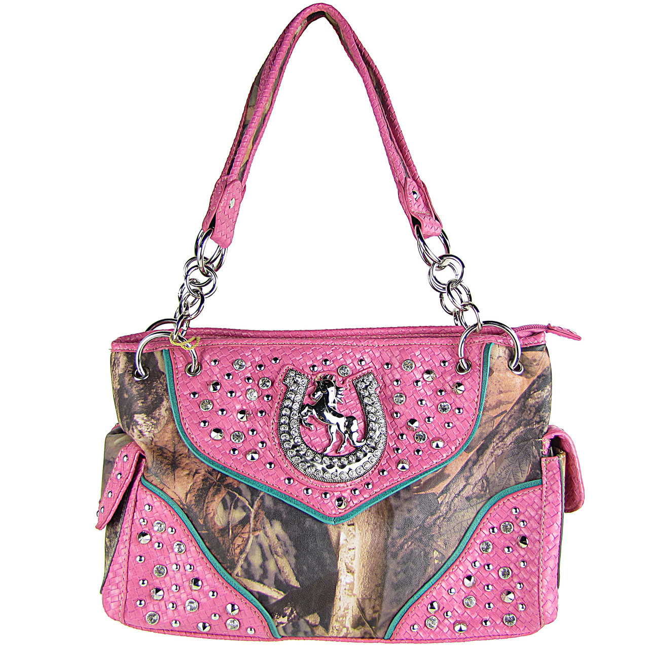 HOT PINK CAMO RHINESTONE HORSESHOE LOOK SHOULDER HANDBAG HB1-HH395-10HPK