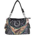 BLACK CAMO RHINESTONE HORSESHOE LOOK SHOULDER HANDBAG HB1-HH395-10BLK