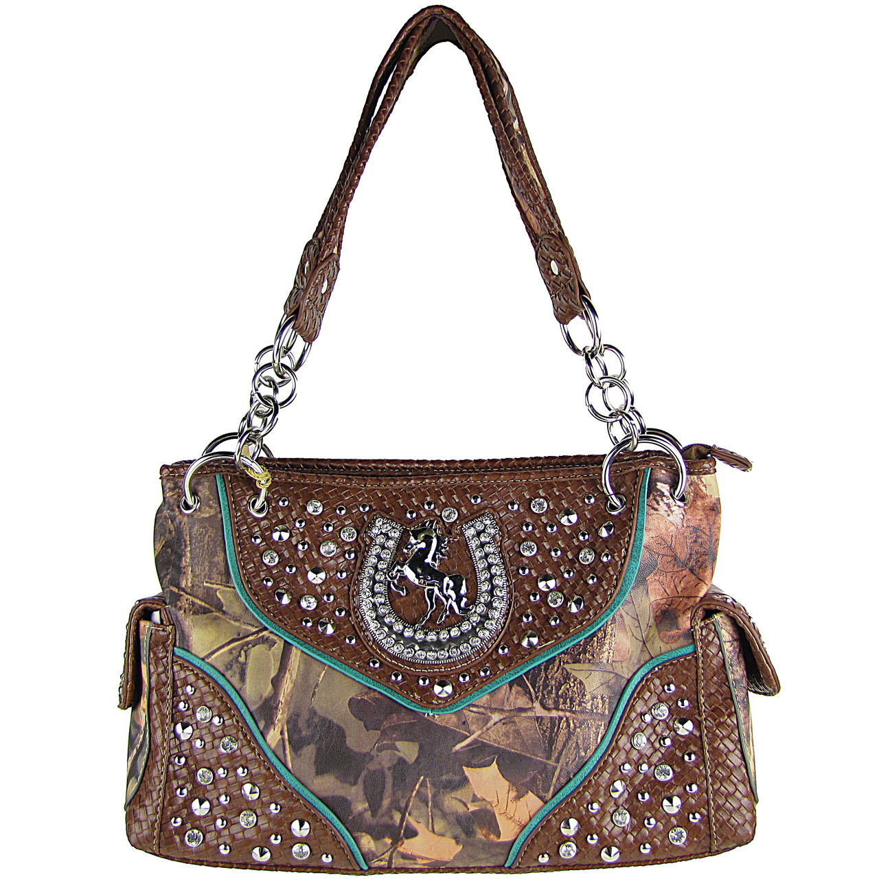 BROWN CAMO RHINESTONE HORSESHOE LOOK SHOULDER HANDBAG HB1-HH395-10BRN