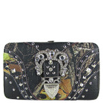 BLACK MOSSY CAMO BUCKLE DESIGN FLAT THICK WALLET FW2-12116BLK