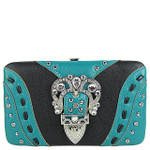 BLACK BUCKLE DESIGN FLAT THICK WALLET FW2-12117BLK