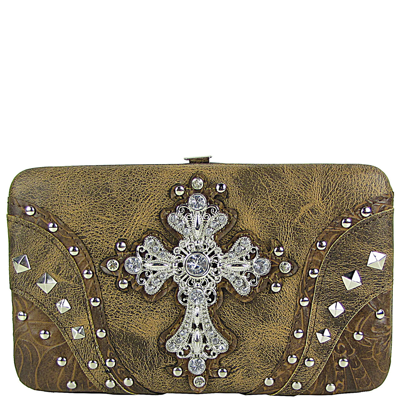 BROWN STUDDED RHINESTONE TOOLED CROSS LOOK FLAT THICK WALLET FW2-04120BRN