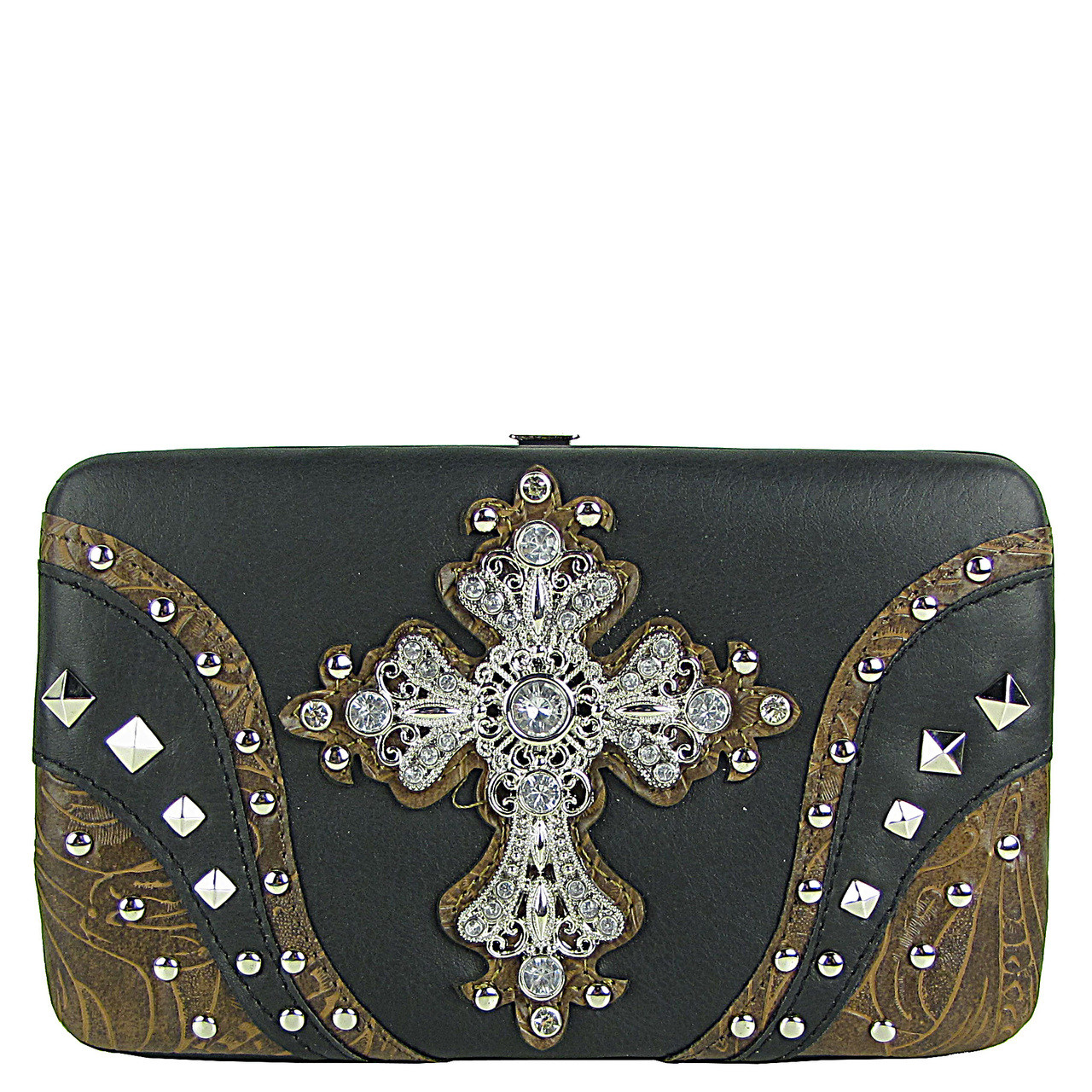 BLACK STUDDED RHINESTONE TOOLED CROSS LOOK FLAT THICK WALLET FW2-04120BLK
