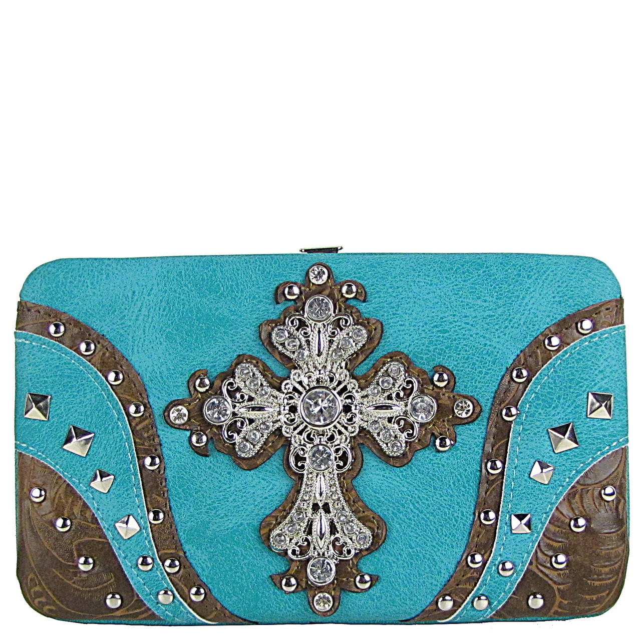 TURQUOISE STUDDED RHINESTONE TOOLED CROSS LOOK FLAT THICK WALLET FW2-04120TRQ