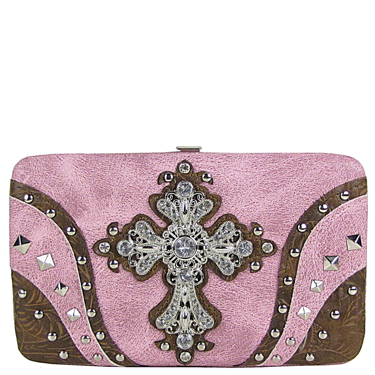 PINK STUDDED RHINESTONE TOOLED CROSS LOOK FLAT THICK WALLET FW2-04120PNK