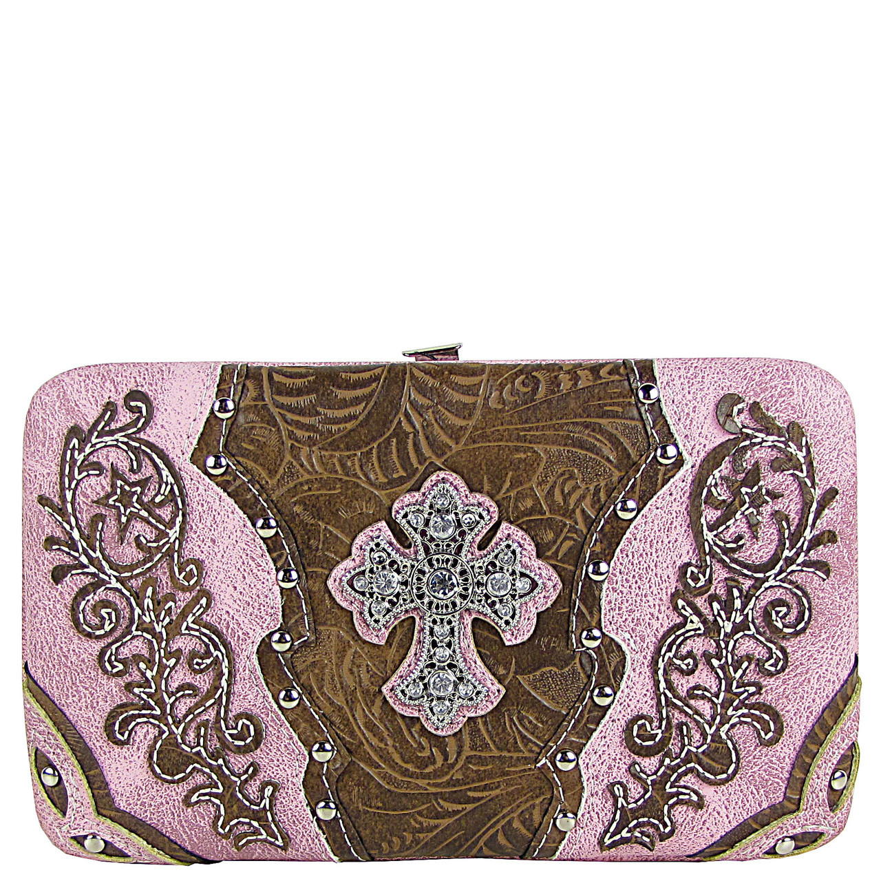 PINK STUDDED RHINESTONE TOOLED CROSS LOOK FLAT THICK WALLET FW2-04121PNK