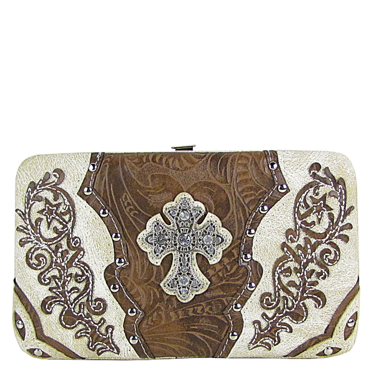 BEIGE STUDDED RHINESTONE TOOLED CROSS LOOK FLAT THICK WALLET FW2-04121BEI