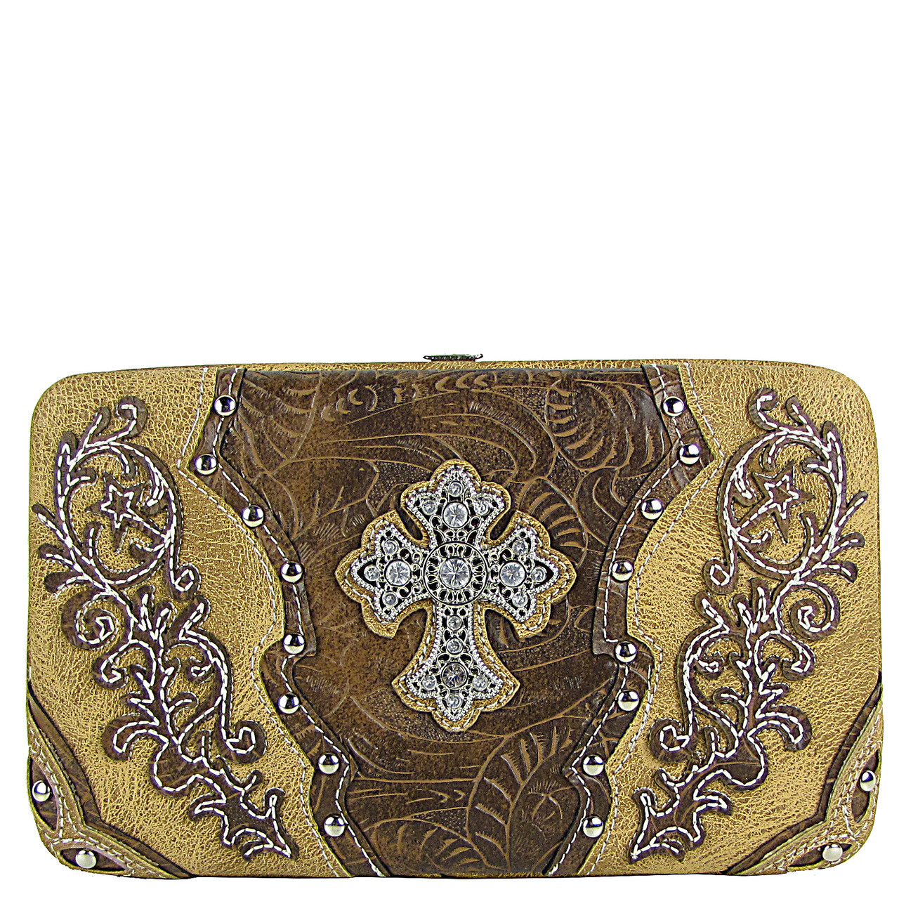TAN STUDDED RHINESTONE TOOLED CROSS LOOK FLAT THICK WALLET FW2-04121TAN