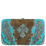 TURQUOISE STUDDED RHINESTONE TOOLED CROSS LOOK FLAT THICK WALLET FW2-04121TRQ