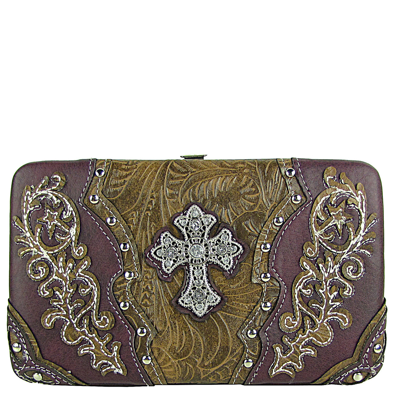 PURPLE STUDDED RHINESTONE TOOLED CROSS LOOK FLAT THICK WALLET FW2-04121PPL