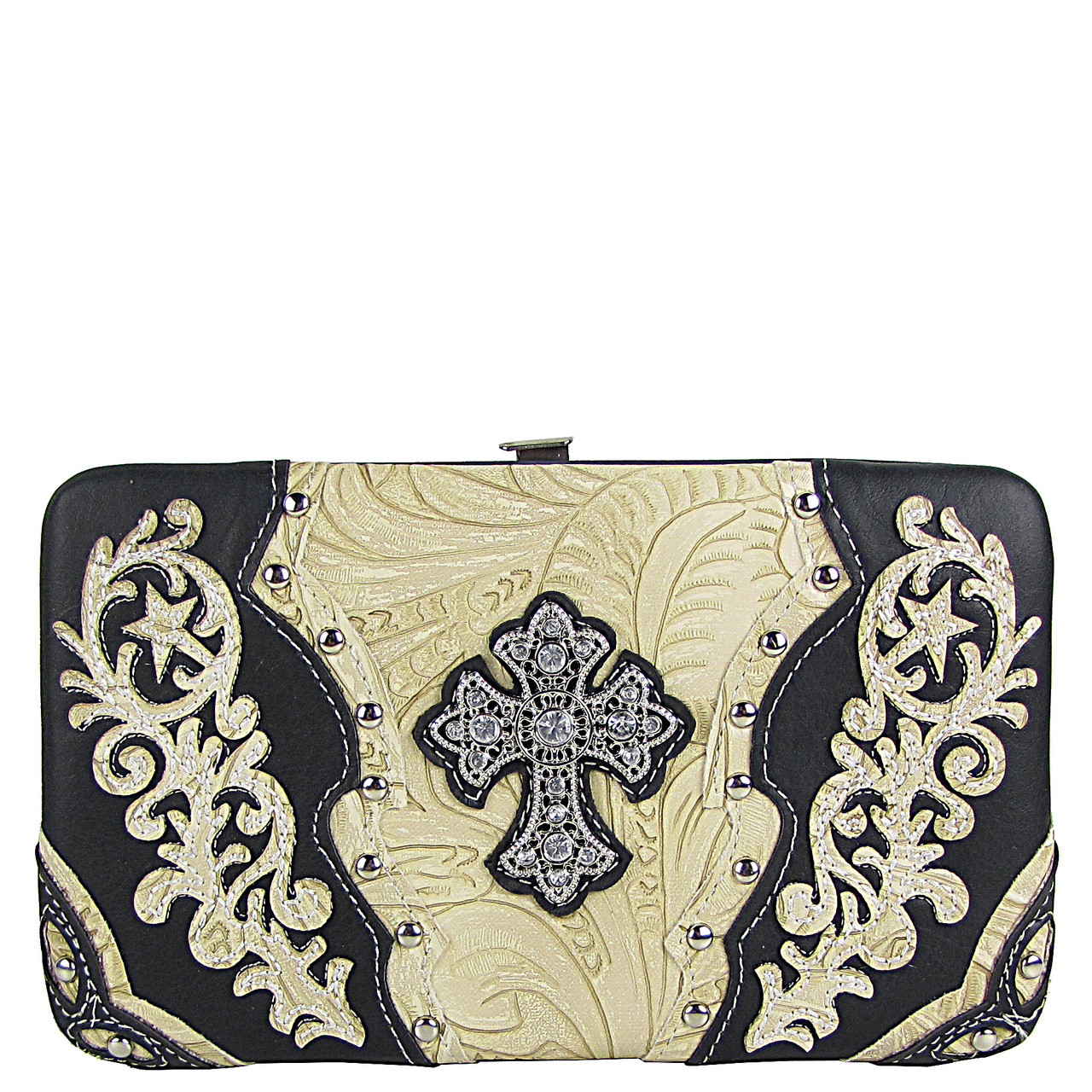 BLACK STUDDED RHINESTONE TOOLED CROSS LOOK FLAT THICK WALLET FW2-04121BLK