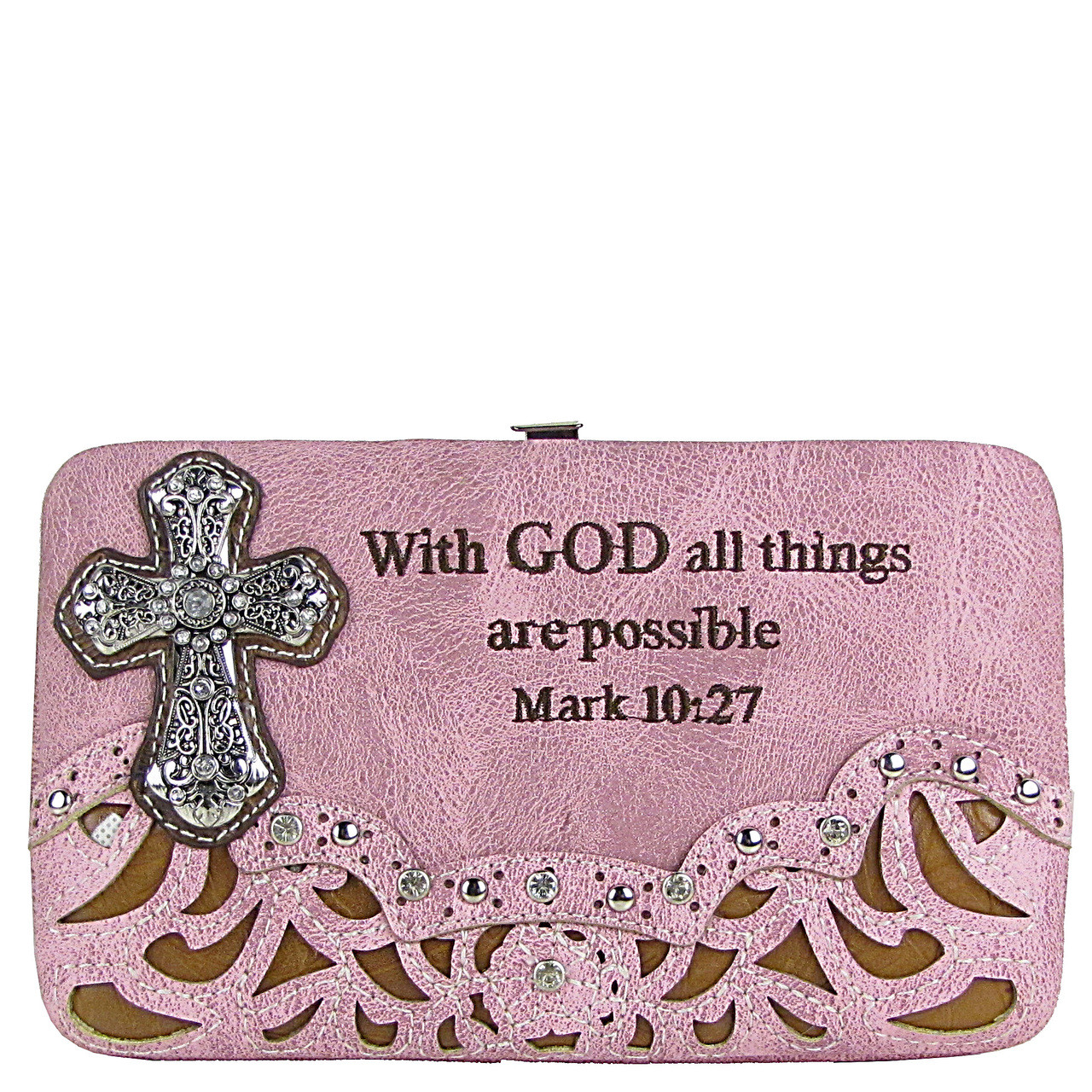 PINK STUDDED RHINESTONE TOOLED CROSS WITH VERSE LOOK FLAT THICK WALLET FW2-04119PNK