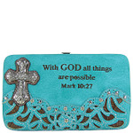 TURQUOISE STUDDED RHINESTONE TOOLED CROSS WITH VERSE LOOK FLAT THICK WALLET FW2-04119TRQ