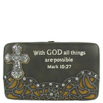 BROWN DTUDDED RHINESTONE TOOLED CROSS WITH VERSE LOOK FLAT THICK WALLET FW2-04119BRN