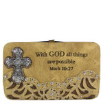 TAN STUDDED RHINESTONE TOOLED CROSS WITH VERSE LOOK FLAT THICK WALLET FW2-04119TAN