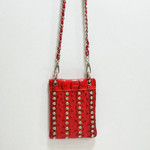 RED OSTRICH STUDDED RHINESTONE MINI MESSENGER BAG MB2-1208RED