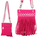 CORAL CROCODILE RUFFLES WITH RHINESTONES MINI MESSENGER BAG MB2-1213COR
