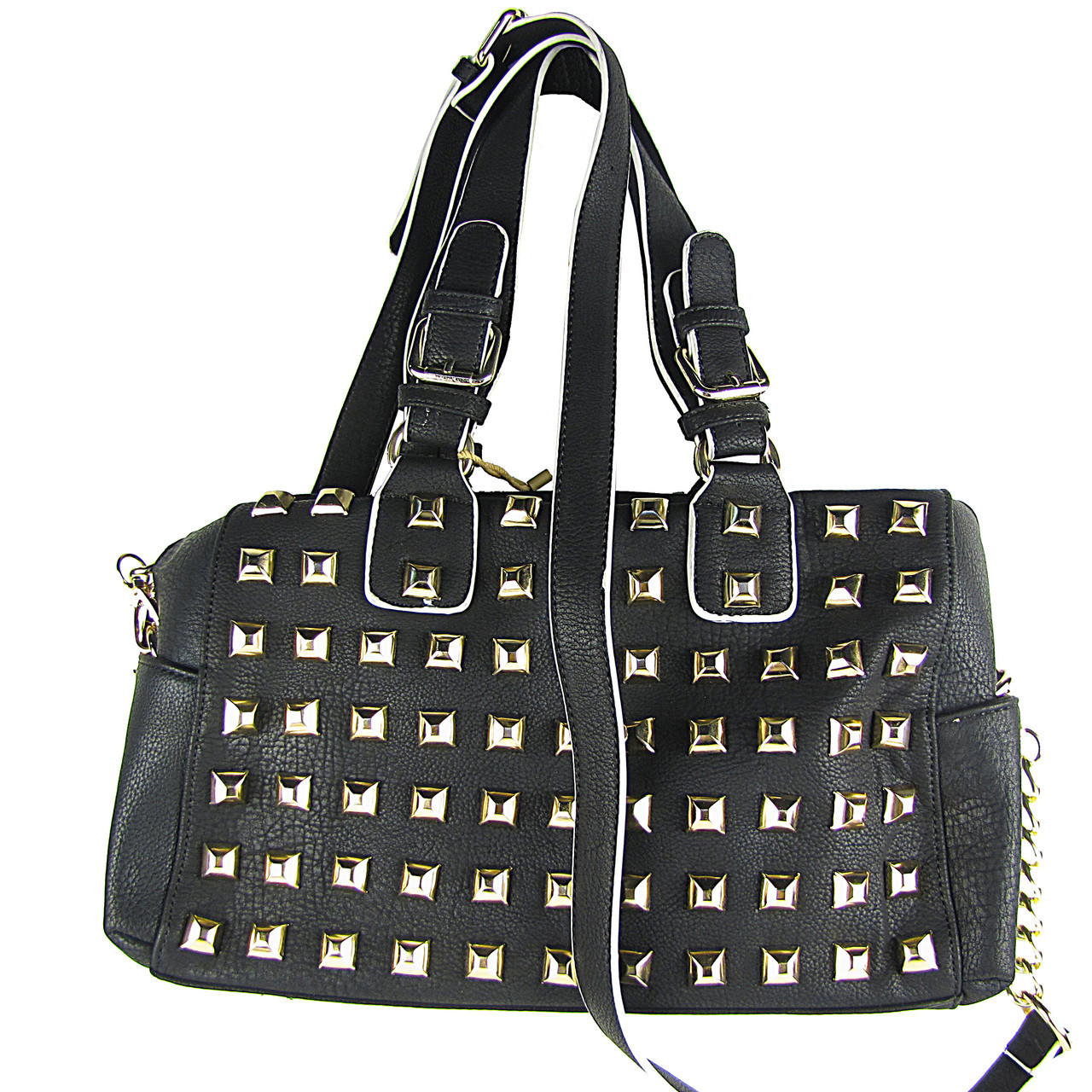 BLACK STUDDED LEATHERETTE LOOK SHOULDER HANDBAG HB1-HC0079BLK