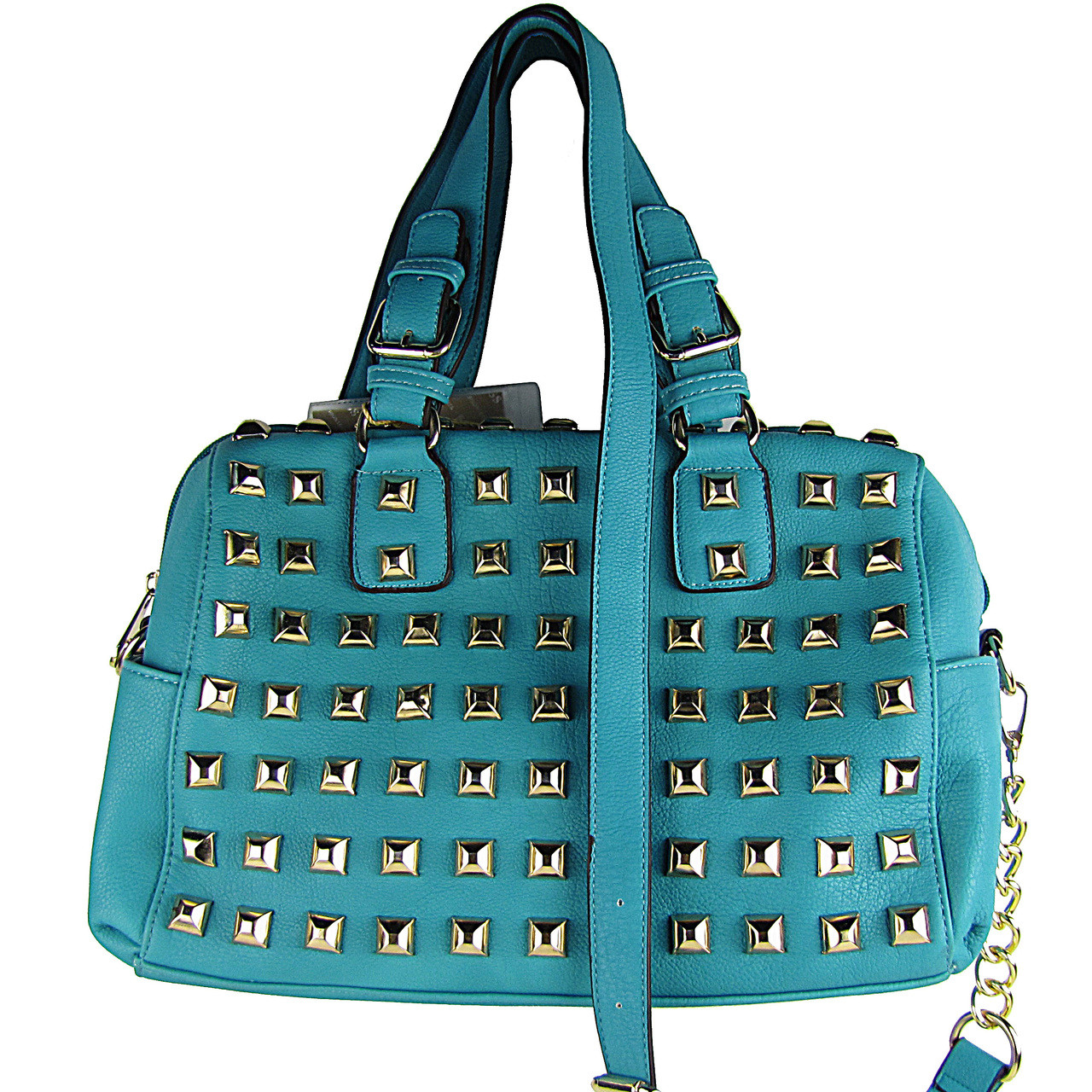 TURQUOISE STUDDED LEATHERETTE LOOK SHOULDER HANDBAG HB1-HC0079TRQ
