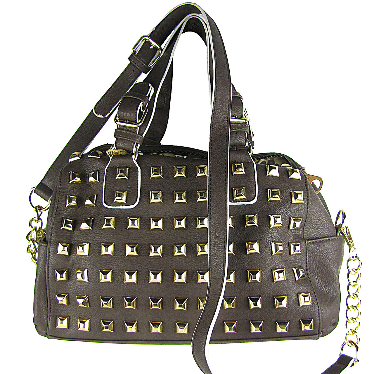 BROWN STUDDED LEATHERETTE LOOK SHOULDER HANDBAG HB1-HC0079BRN
