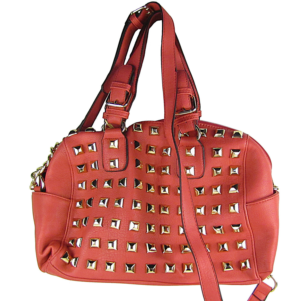 HOT PINK STUDDED LEATHERETTE LOOK SHOULDER HANDBAG HB1-HC0079HPK