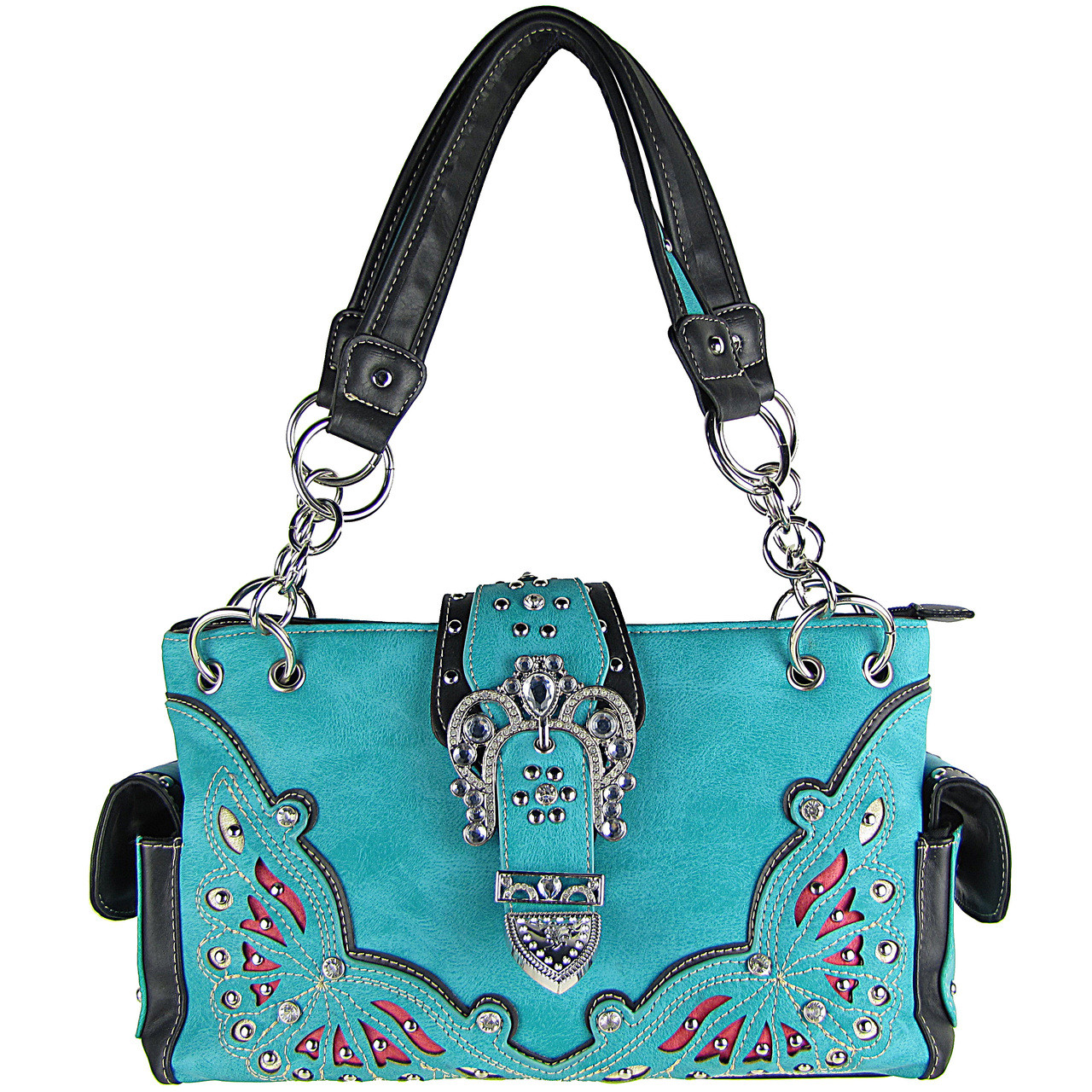 TURQUOISE RHINESTONE BUCKLE LOOK SHOULDER HANDBAG HB1-39W70-1TRQ
