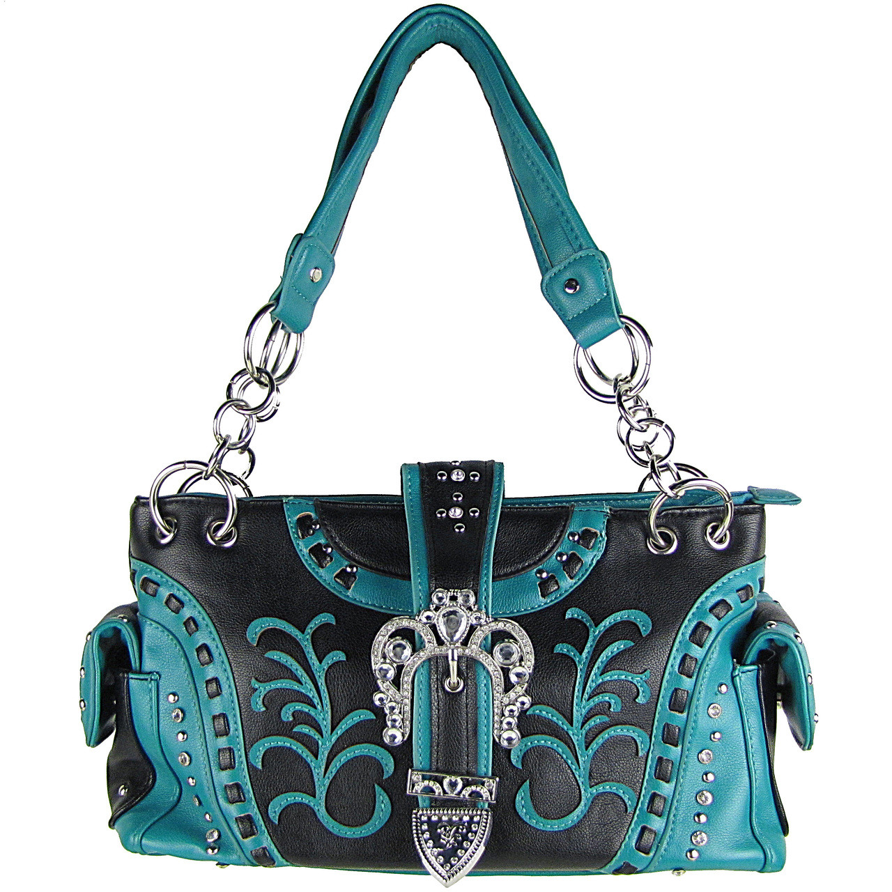 TURQUOISE RHINESTONE BUCKLE LOOK SHOULDER HANDBAG HB1-39W71TRQ