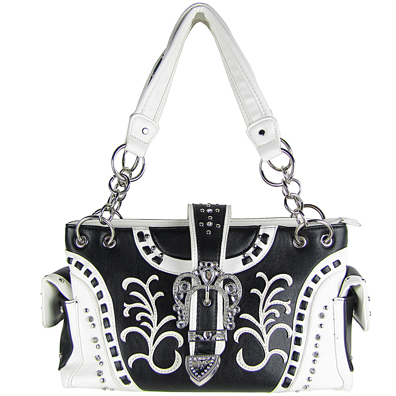 WHITE RHINESTONE BUCKLE LOOK SHOULDER HANDBAG HB1-39W71WHT