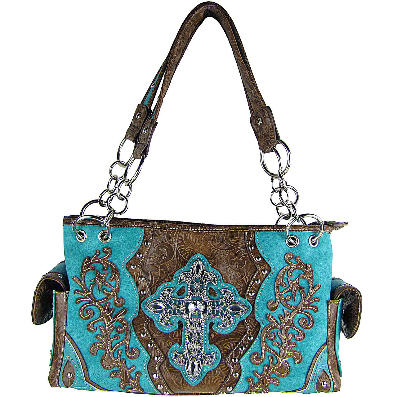 TURQUOISE RHINESTONE BUCKLE LOOK SHOULDER HANDBAG HB1-63LCRTRQ