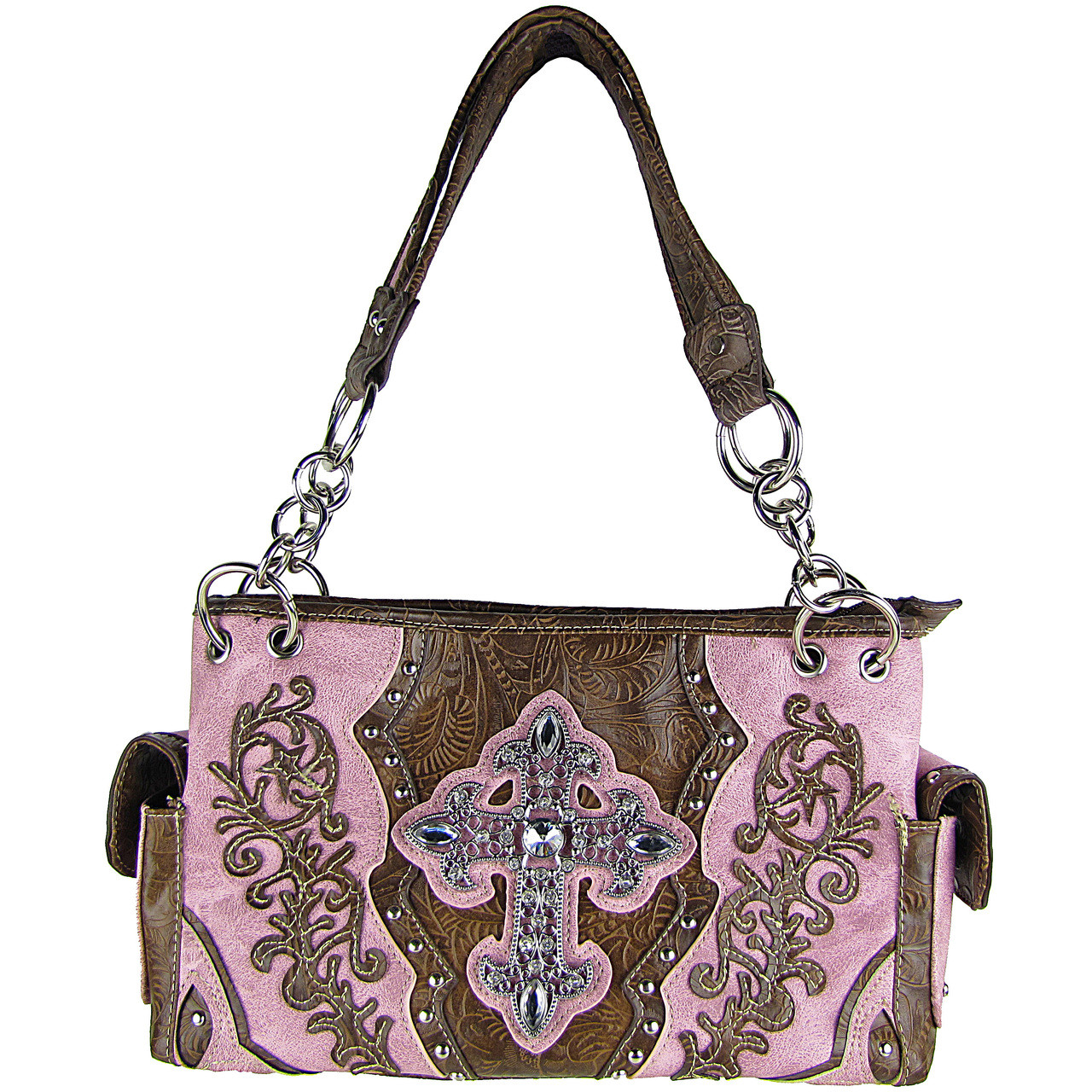 PINK RHINESTONE BUCKLE LOOK SHOULDER HANDBAG PINK RHINESTONE BUCKLE LOOK SHOULDER HANDBAG HB1-63LCRPNK