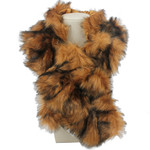 BROWN FUR COTTON NECK SCARF NS1-0153BRN