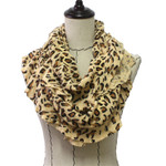 BEIGE CHEETAH PRINT LONG COTTON NECK SCARF NS1-0161BEI