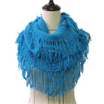 BLUE FRINGE PRINT LONG COTTON NECK SCARF NS1-0163BLU