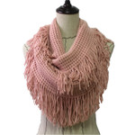 PINK FRINGE PRINT LONG COTTON NECK SCARF NS1-0163PNK